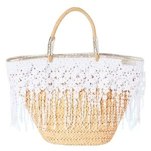 Lilly Pulitzer beach bag Ivy straw tote white lace